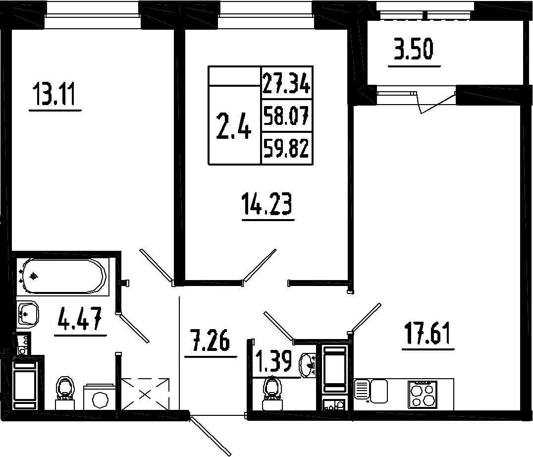 3-к.кв (евро), 61.57 м²