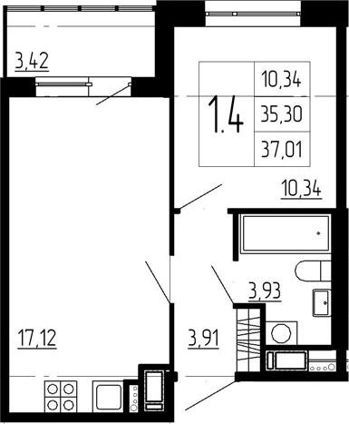 2-к.кв (евро), 38.72 м²