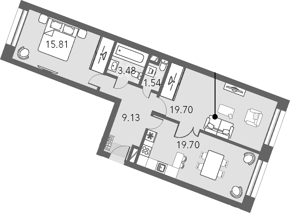 3Е-комнатная, 69.36 м²– 2