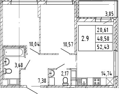 3Е-к.кв, 48.58 м², от 3 этажа