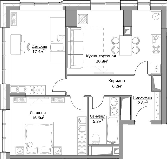 3Е-комнатная, 73.2 м²– 2