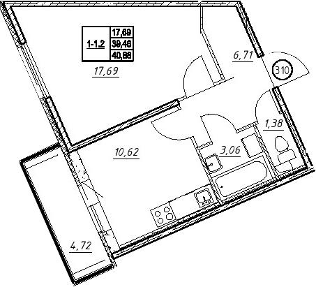 1-к.кв, 44.19 м²