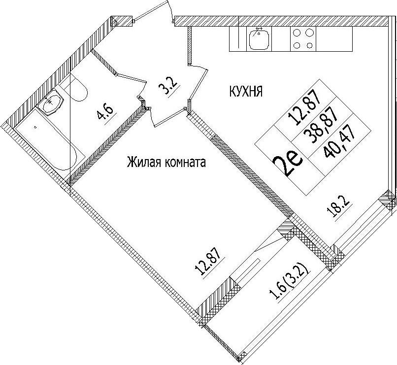 2-к.кв (евро), 42.07 м²