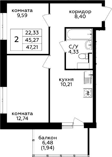 2-к.кв, 47.21 м²