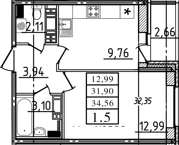 1-к.кв, 31.9 м²