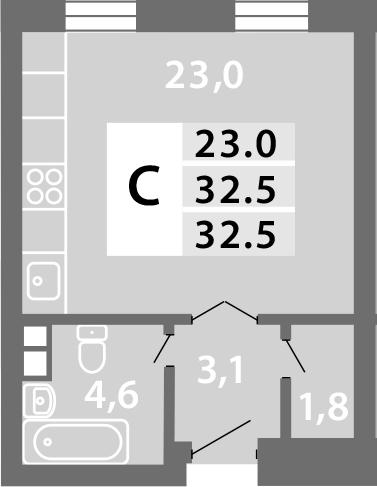 Студия, 32.52 м²