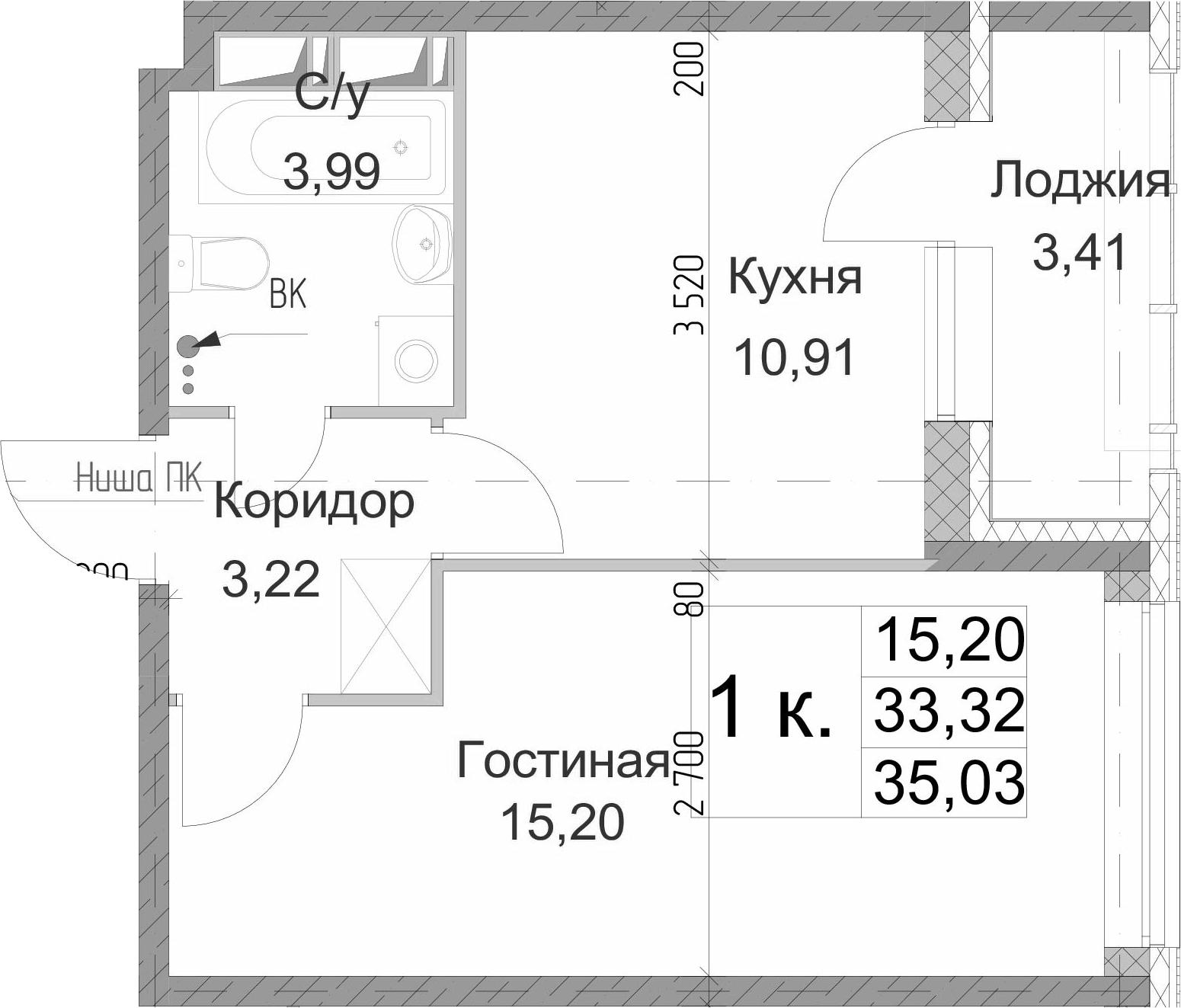 1-комнатная, 35.03 м²– 2