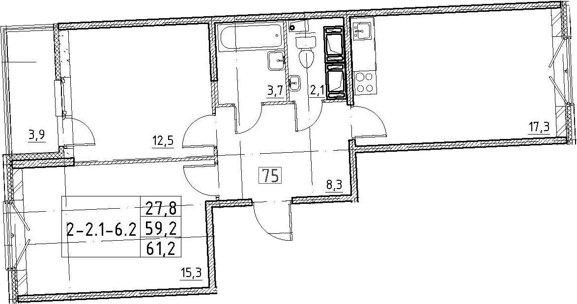 3Е-к.кв, 61.2 м², 3 этаж