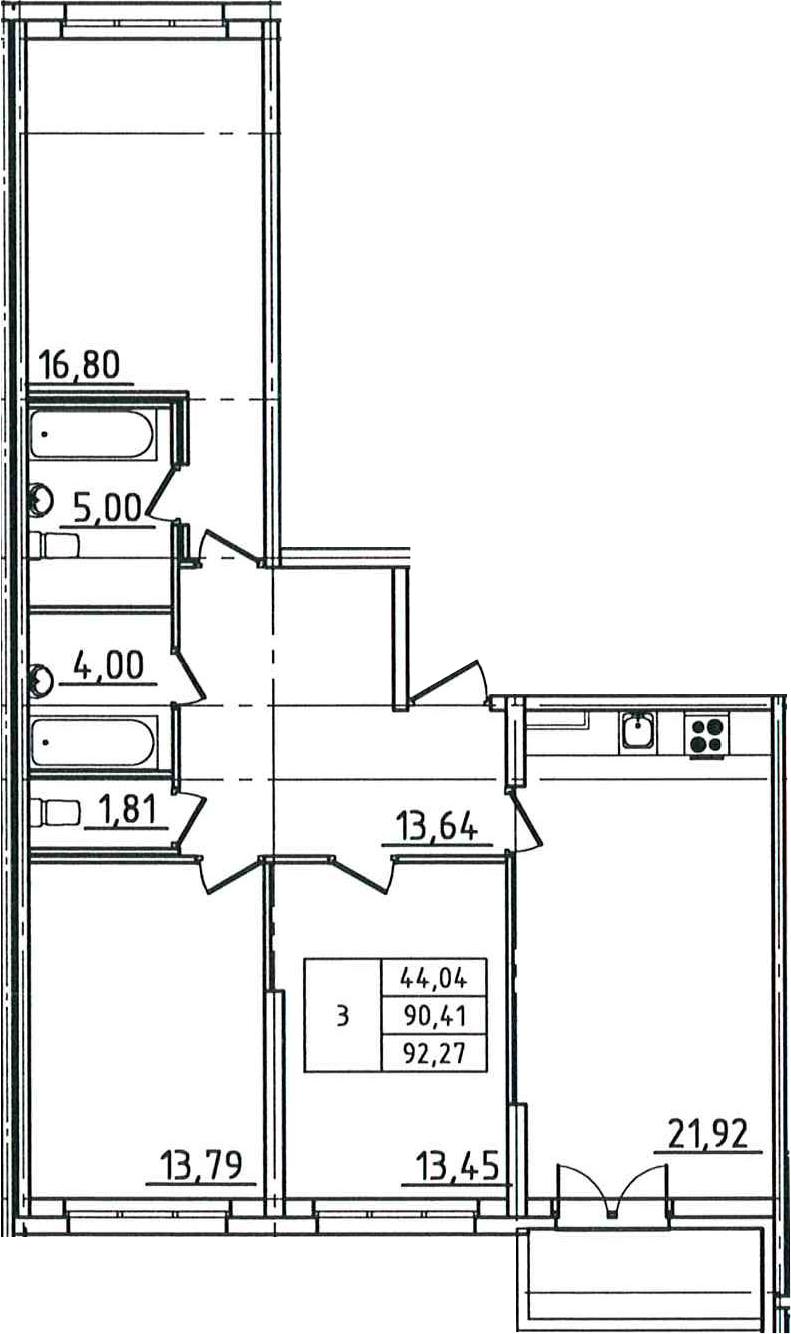 4-к.кв (евро), 94.13 м²