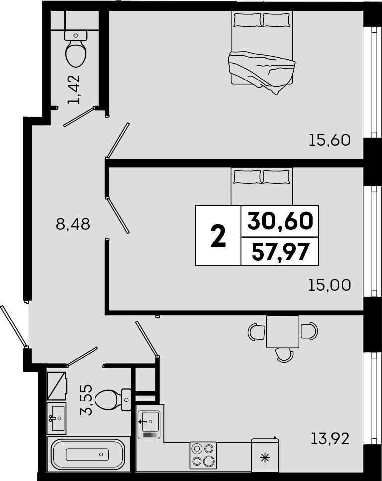 2-комнатная, 57.97 м²– 2