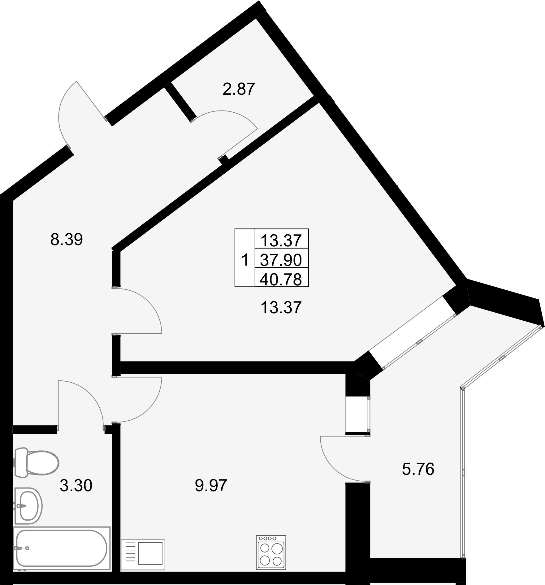 1-к.кв, 40.78 м²