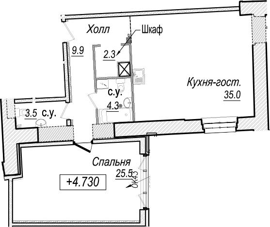 2Е-к.кв, 80.5 м²