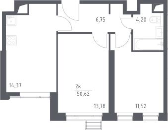2-к.кв, 50.62 м²