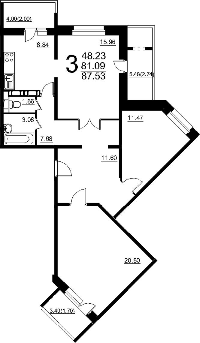 3-к.кв, 93.97 м²