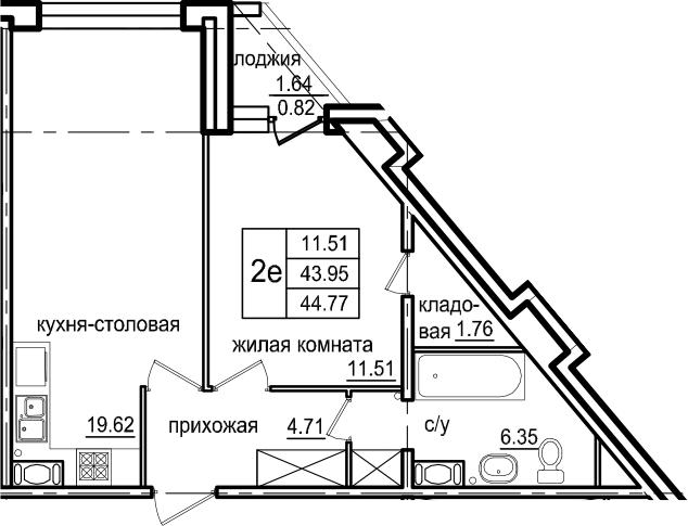 2-к.кв (евро), 45.59 м²