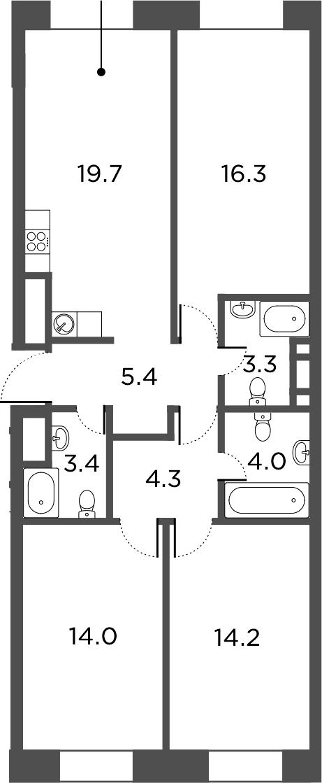 4Е-комнатная, 84.6 м²– 2
