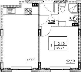 2Е-комнатная, 35.71 м²– 2