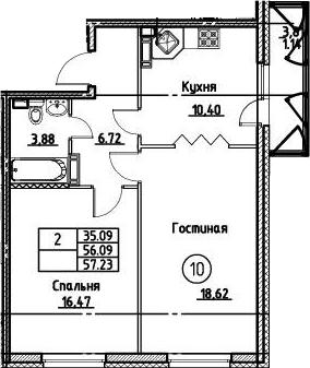 2-к.кв, 57.23 м²