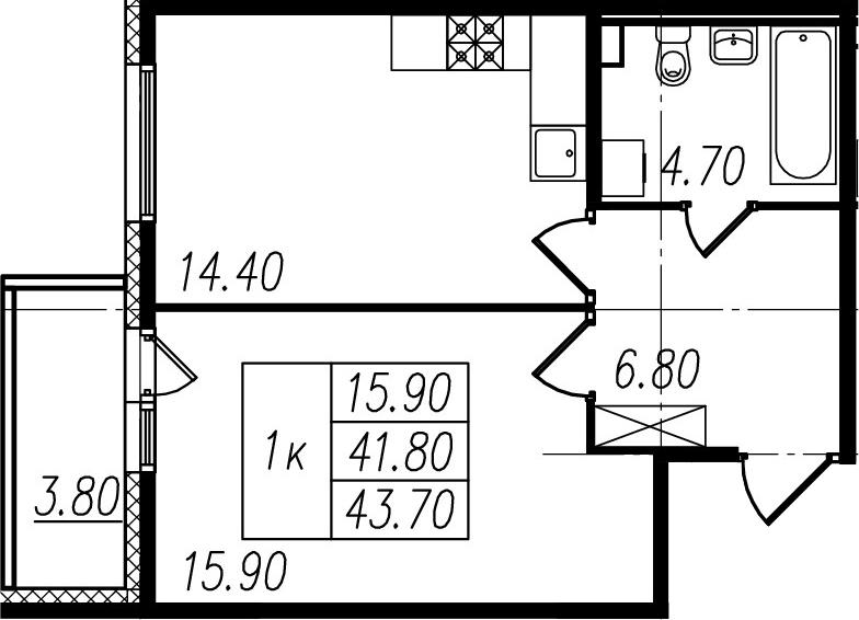 1-к.кв, 41.8 м², 2 этаж