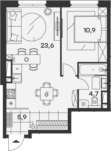 2Е-к.кв, 45.1 м²