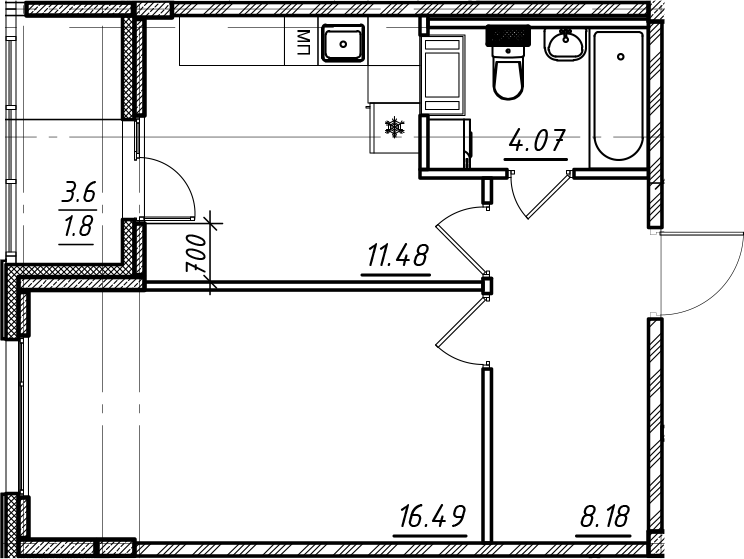 1-комнатная, 42.02 м²– 2