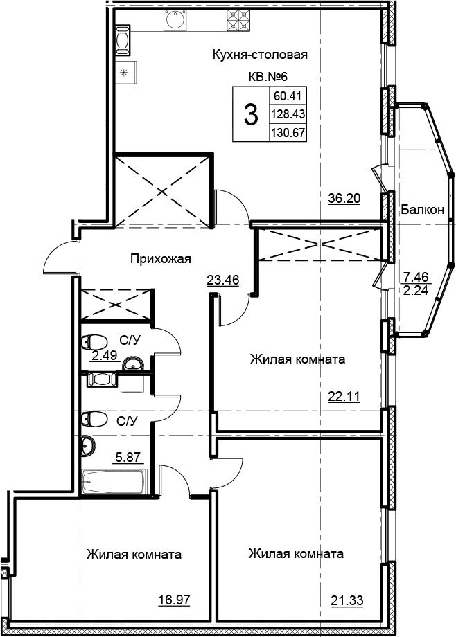 4Е-к.кв, 130.67 м²