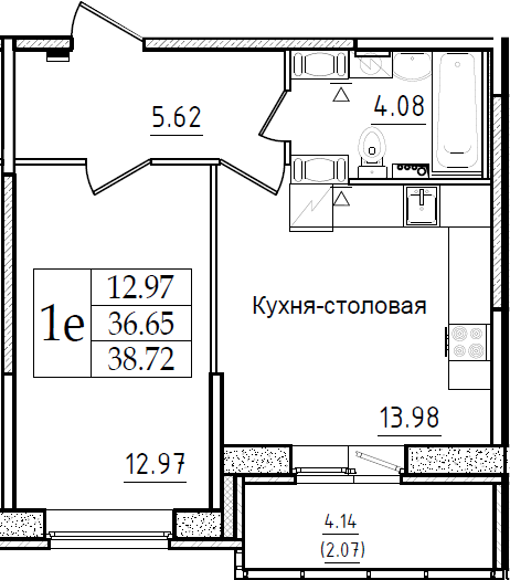 2Е-к.кв, 38.72 м²
