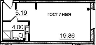 Студия, 27.22 м²– 2