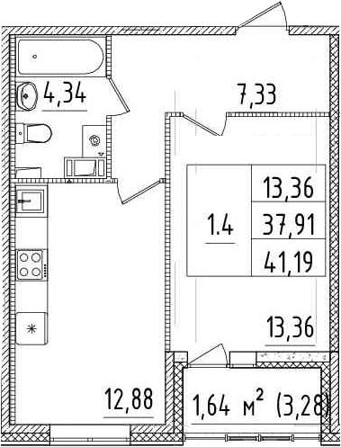 1-к.кв, 41.19 м²