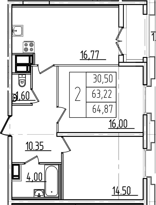 3Е-к.кв, 64.87 м²