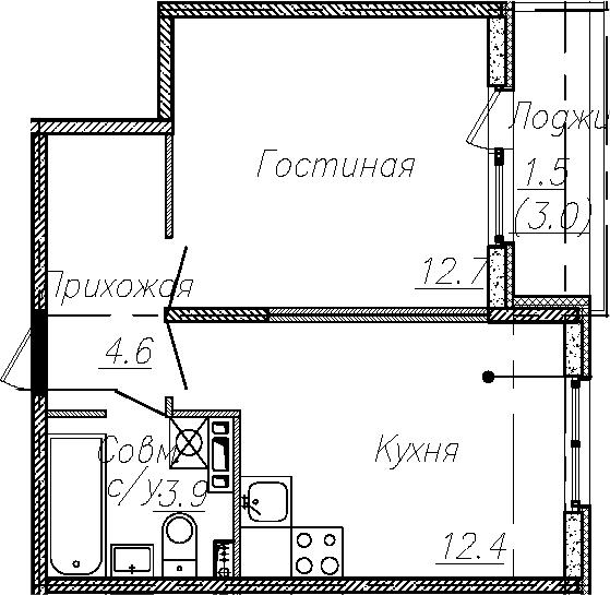 1-к.кв, 33.6 м², 2 этаж