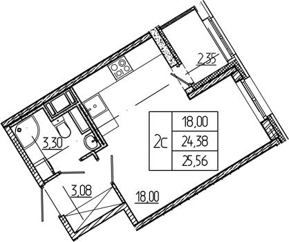 Студия, 24.38 м²– 2