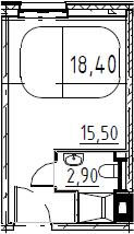 Студия, 18.4 м², 13 этаж