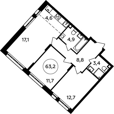3Е-к.кв, 63.2 м²