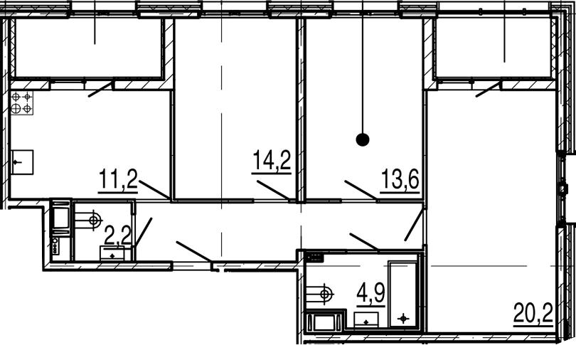 3-к.кв, 81.2 м², 8 этаж
