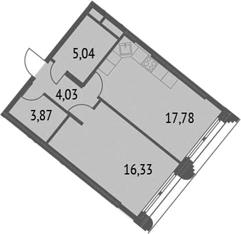 2-к.кв (евро), 47.05 м²