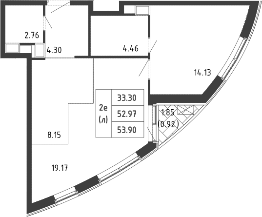 2Е-комнатная, 54 м²– 2