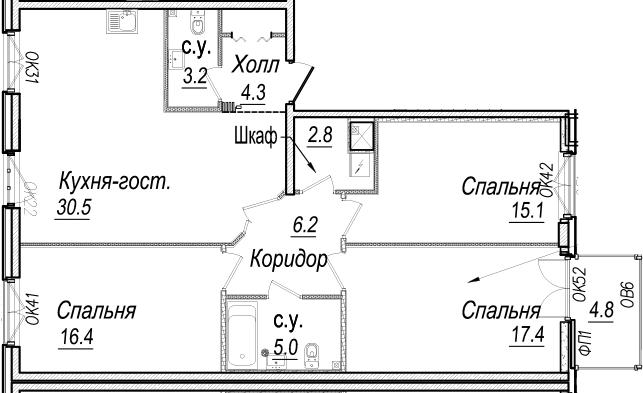 4-к.кв (евро), 105.57 м²