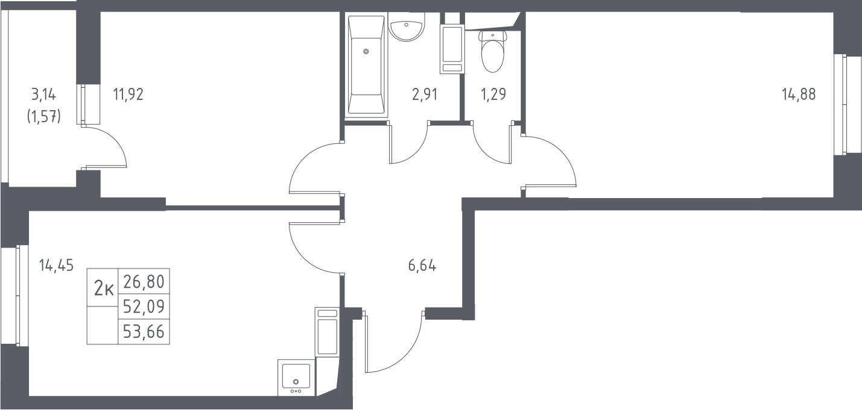 2-комнатная, 53.66 м²– 2