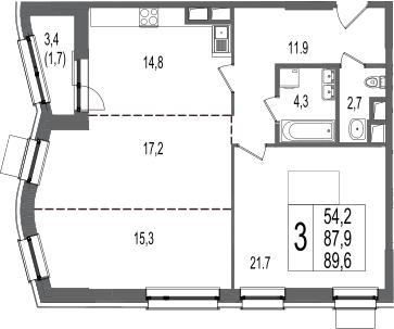 3-комнатная, 89.6 м²– 2