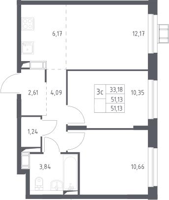 3Е-комнатная, 51.13 м²– 2