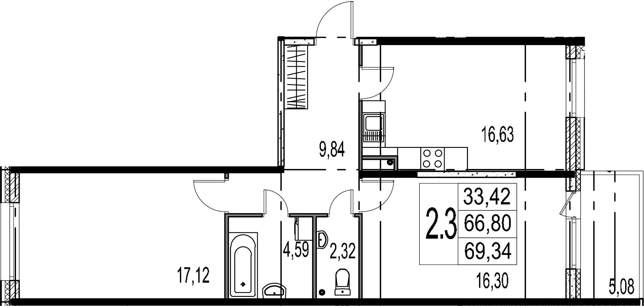 3-к.кв (евро), 71.88 м²