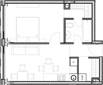 Свободная планировка, 41.29 м²– 2