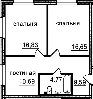 2-к.кв, 58.53 м²