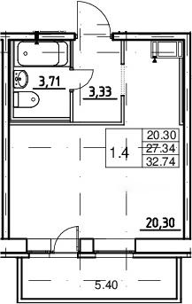Студия, 27.34 м², 2 этаж