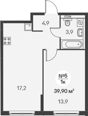 2-к.кв (евро), 39.9 м²