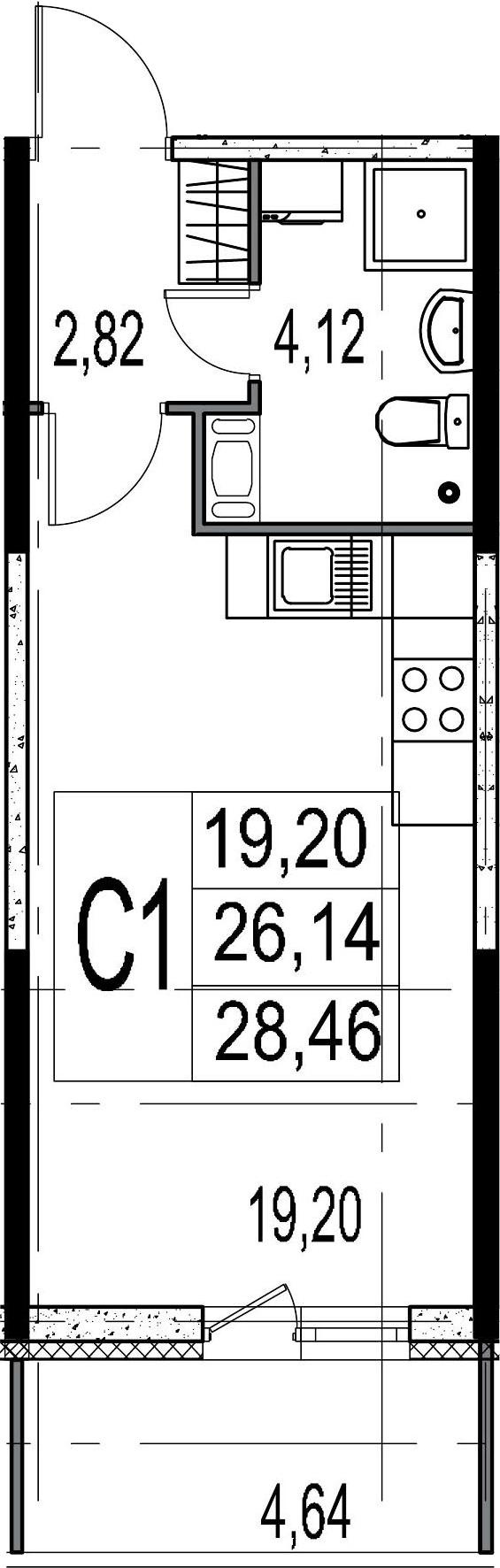 Студия, 26.14 м²– 2