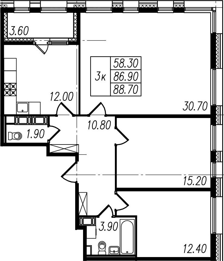 3-комнатная, 86.9 м²– 2