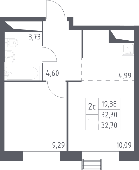 2Е-к.кв, 32.7 м²