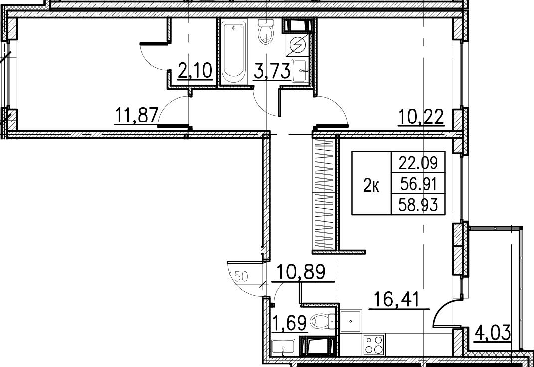3Е-комнатная, 58.93 м²– 2